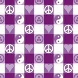 和平格子花呢披肩紫色 免版税库存图片