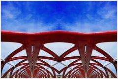 和平桥梁创造性的建筑学在卡尔加里加拿大 免版税库存图片