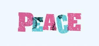 和平概念被盖印的词艺术例证 免版税图库摄影