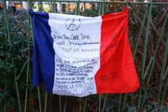 和平消息在法国旗子的 免版税库存图片