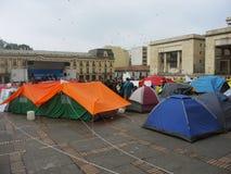 和平的露营地,在波哥大,哥伦比亚 免版税图库摄影