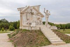 和平纪念品大变动,对泛欧野餐的纪念碑1989年在圣Margarethen,布尔根兰州,新锡德尔湖 免版税库存照片