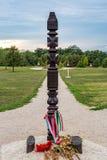 和平纪念品大变动,对泛欧野餐的纪念碑1989年在圣Margarethen,布尔根兰州,新锡德尔湖 库存图片