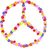 和平,嬉皮的标志传染媒介由花制成 图库摄影
