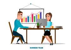 年轻和成功的企业队传染媒介动画片例证 库存图片