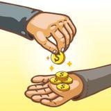 给和收到金钱的动画片手 免版税库存照片