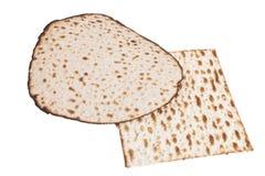 围绕和方形的Matzah 库存照片