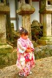 和服的,奈良,日本逗人喜爱的矮小的日本女孩 库存图片