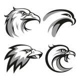 黑和灰色老鹰头商标为事务设置了 免版税库存照片