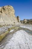 水和盐在沙漠 库存图片