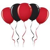 黑和红色气球丝带 免版税库存图片