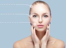 年轻和自然妇女温泉画象有被加点的箭头的在蓝色背景的面孔 医学和护肤 库存图片