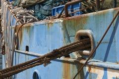 绳索和船铁锈细节  库存照片