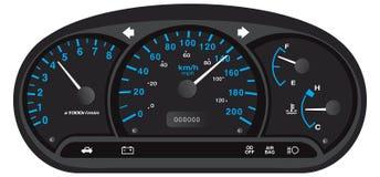 黑和蓝色汽车仪表板 库存图片