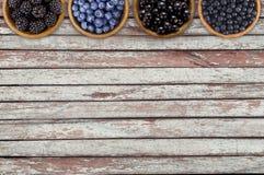 黑和蓝色莓果 黑莓、蓝莓、无核小葡萄干和蓝莓在木碗在木背景 免版税库存照片