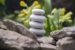和谐和平衡,简单的小卵石在另一个小卵石,朴素,五块石头耸立 免版税图库摄影