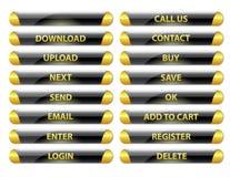黑和金黄被环绕的光滑的互联网按钮 免版税库存照片