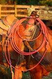 绳索和马鞍 免版税库存照片