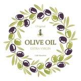 黑和绿橄榄橄榄油花圈的标签  库存例证