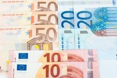 10 20和50欧元 库存照片