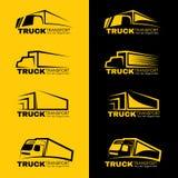 黑和黄色卡车运输商标传染媒介设计 库存照片