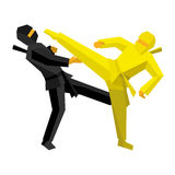 黑和黄色ninja作战 库存照片