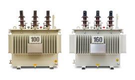 100和160 kVA油浸的变压器 免版税库存照片