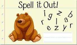 咒语英国词北美灰熊 库存例证