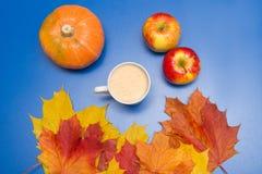 咖啡、叶子和南瓜 免版税库存图片