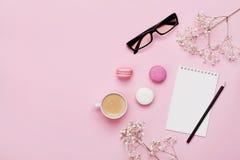 咖啡、蛋糕macaron、笔记本、镜片和花在桃红色桌上从上面 女性运转的书桌 舒适早餐舱内甲板位置 免版税库存照片