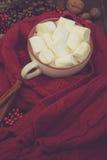 咖啡、围巾和圣诞节装饰 免版税库存照片