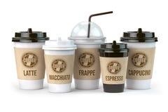 咖啡不同例如拿铁、grappe、浓咖啡和cappucino隔绝在白色背景 设置咖啡纸杯 库存例证