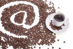 咖啡与在标志的 免版税库存图片