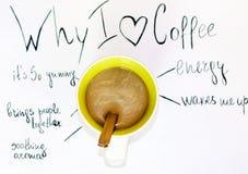 咖啡与我为什么的爱咖啡标志 库存图片