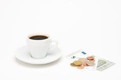 咖啡与票据的 库存照片