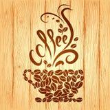 咖啡与花卉设计元素的在a 免版税库存照片