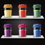 咖啡五颜六色的杯子 库存照片