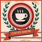 咖啡休息标志,葡萄酒样式 免版税图库摄影