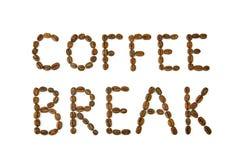 咖啡休息词由咖啡豆制成 库存照片