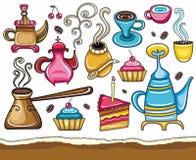 咖啡伙伴集合茶yerba 皇族释放例证