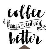 咖啡做一切更好的海报 免版税库存照片