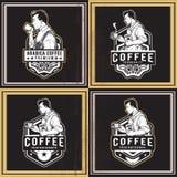 咖啡减速火箭的徽章 图库摄影