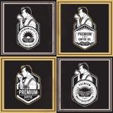 咖啡减速火箭的徽章 免版税库存照片