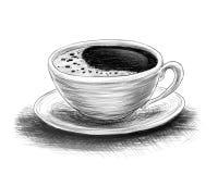 咖啡剪影  免版税库存照片