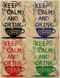 咖啡口号饮料T恤杉咖啡馆酒吧咖啡馆设计传染媒介艺术 免版税库存照片