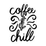 咖啡和冷颤刷子手拉的题字 皇族释放例证