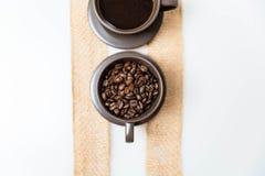 咖啡和咖啡豆 库存照片