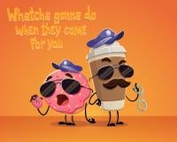 咖啡和多福饼警察 免版税库存图片
