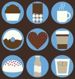 咖啡和巧克力集 库存照片
