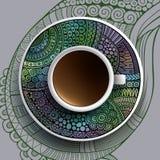 咖啡和手拉的装饰品 免版税图库摄影
